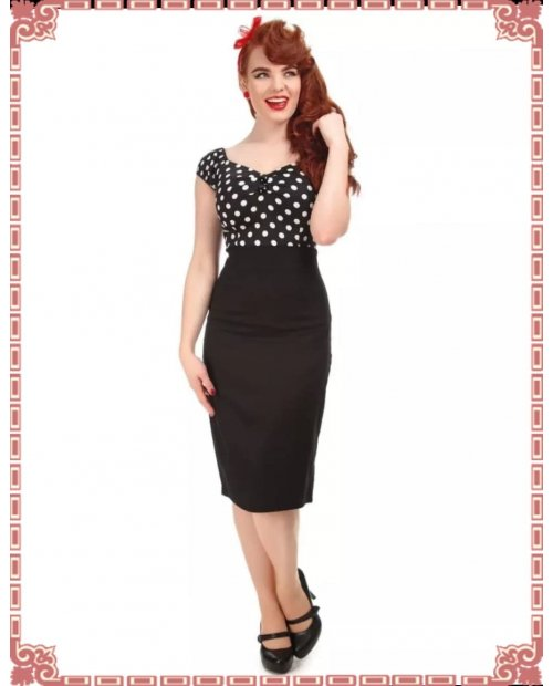Fiona Pencil Skirt Années 50 en Noir COLLECTIF CLOTHING