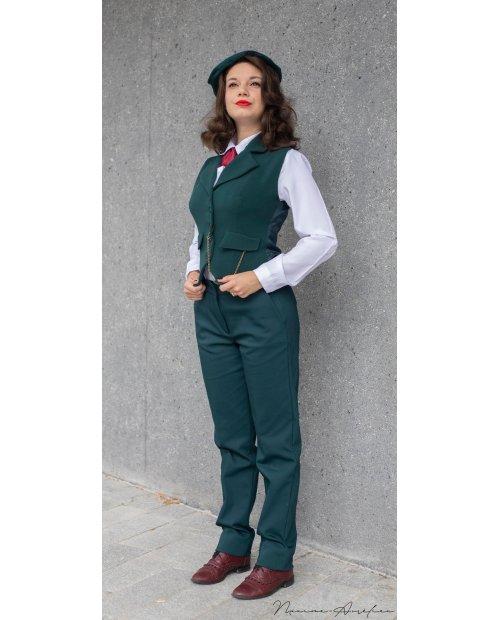 "Pantalon Peaky vert sapin Collection ""BOUDOIR"" MADE IN France"
