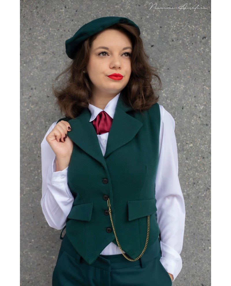 """Veston ''PEAKY"""" vert sapin Collection BOUDOIR"""" MADE IN FRANCE"""