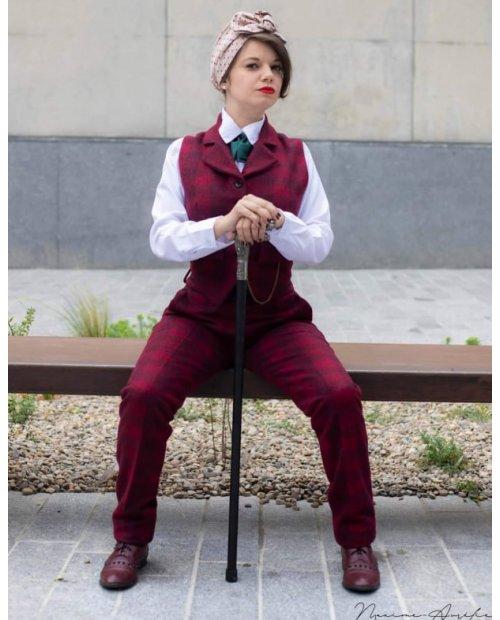 """Pantalon Peaky à carreaux bordeaux Collection """"BOUDOIR"""""""