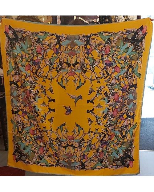 """grand foulard soie ''BIRD"""" jaune"""